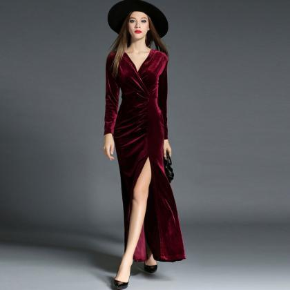 v neck long sleeve sexy high slit evening dress