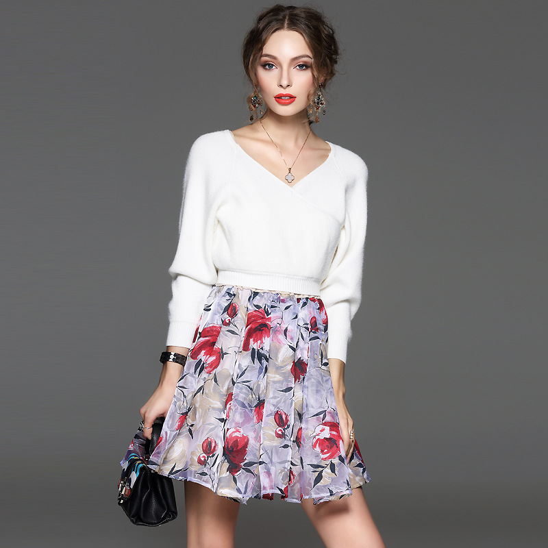 Autumn new solid color v neck long sleeve Knitted printed skirts two piece sets women casual formal dress